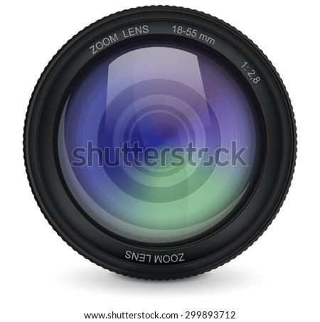 Camera photo lens. isolated on white background. Raster version - stock photo