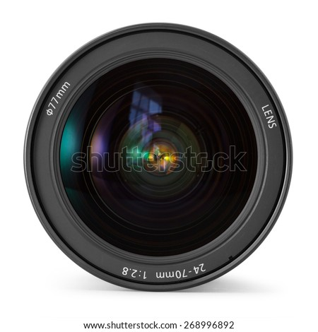 Camera photo lens over white background - stock photo