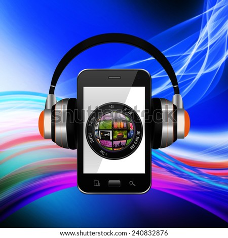 Camera photo lens with headphones on smartphone,smartphone with lens illustration - stock photo