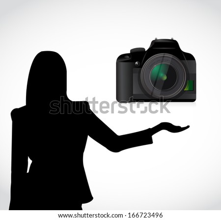camera presentation illustration design over a white background - stock photo