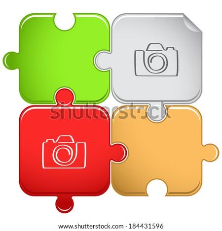 Camera. Raster puzzle.  - stock photo
