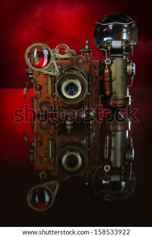Camera steampunk. - stock photo