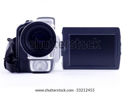 camera video on white background - stock photo