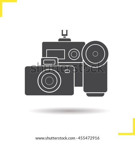 Cameras icon. Drop shadow cameras icon. Slr vintage camera and modern action camera. Optical multimedia equipment. Isolated black cameras illustration. Logo concept. Raster silhouette symbol - stock photo