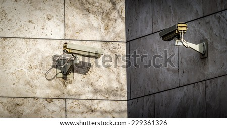 Cameras spying into every corner - stock photo
