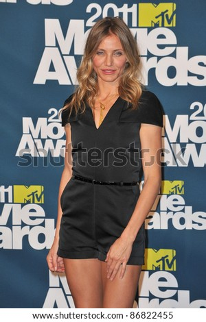 Cameron Diaz at the 2011 MTV Movie Awards at the Gibson Amphitheatre, Universal Studios, Hollywood. June 5, 2011  Los Angeles, CA Picture: Paul Smith / Featureflash - stock photo