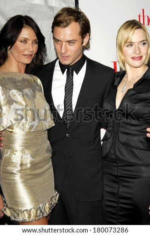 Cameron Diaz, Jude Law, Kate Winslet at New York Premiere of THE HOLIDAY, Ziegfeld Theatre, New York, NY, November 29, 2006