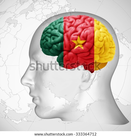 Cameroon flag, human head with brain and world map  background