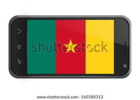 Cameroon flag on smartphone screen isolated on white - stock photo