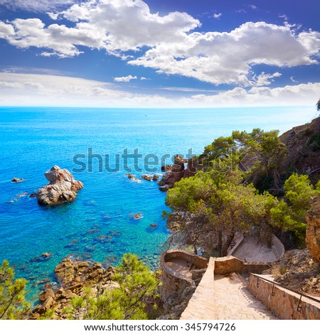 Cami de Ronda track at Lloret de Mar of Costa Brava Catalonia Punta des Calafats - stock photo
