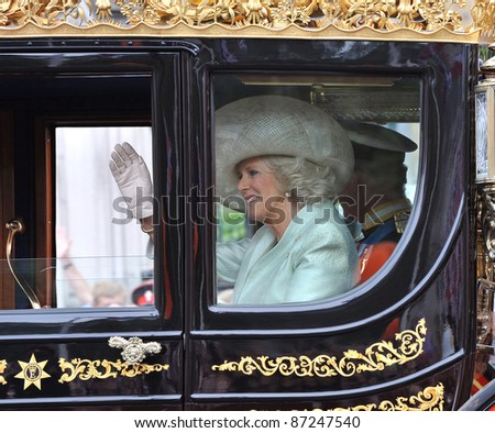 Camilla Duchess of Cornwall leaving Westminster Abbey following the royal wedding of Prince William & Kate Middleton. April 29, 2011  London, UK Picture: Paul Smith / Featureflash - stock photo