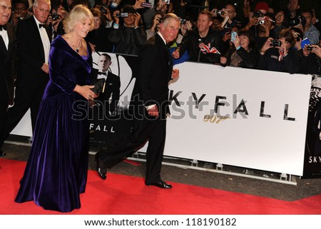 Camilla, Duchess of Corwall and Prince Charles arriving for the Royal World Premiere of 'Skyfall' at Royal Albert Hall, London. 23/10/2012 - stock photo