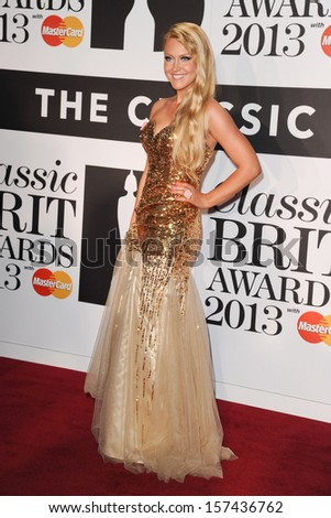 Camilla Kerslake arrives for the Classic Brit Awards 2013 at the Royal Albert Hall, London. 02/10/2013 - stock photo
