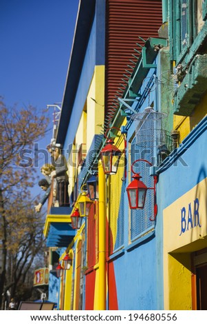 Caminito, a traditional alley, of great cultural and tourism, in the district of La Boca in Buenos Aires, Argentina.  - stock photo