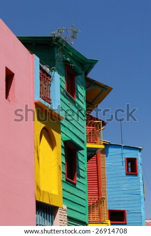 Caminito Street, in La Boca, Caminito is one of the most visited tourist attactions in Buenos Aires - stock photo