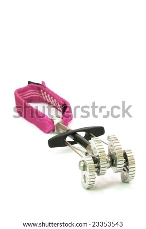 Camming device used as protection when rock climbing - stock photo