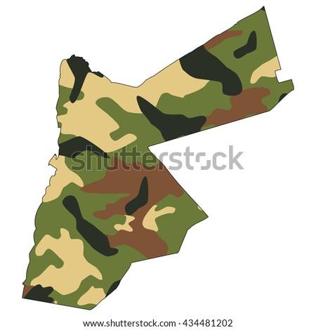 Camo texture in map - Jordan - stock photo