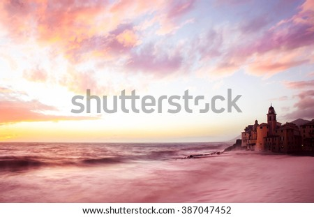 camogli glimpse with pink romantic sunset