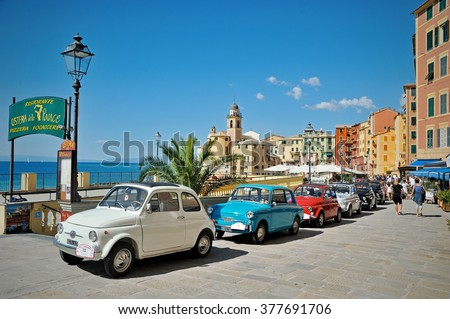 Camogli, Liguria, Italy - September 20, 2015: Festival Fiat 500 Rally organizers the Fiat 500 Club Genova Levante Italy.The participants created a tour of the city east with Fiat 500 Nuova - stock photo