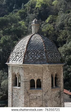 Camogli, San Fruttuoso Abbey dome detail Romanesque abbey in the  Protected Marine Area of Portofino Natural Park - Ligurian Riviera - Liguria Italy - stock photo