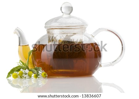 camomile and teapot - stock photo