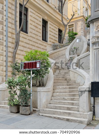Camondo Steps, a famous pedestrian stairway leading to Galata Tower, built around 1870, located on Banks Street in Galata (Karakoy) district of Istanbul, Turkey