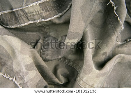 camouflage cloth texture crumpled - stock photo