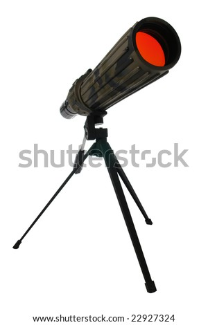 Camouflage color wildlife viewing monocular spotting scope on a tripod isolated on white - stock photo