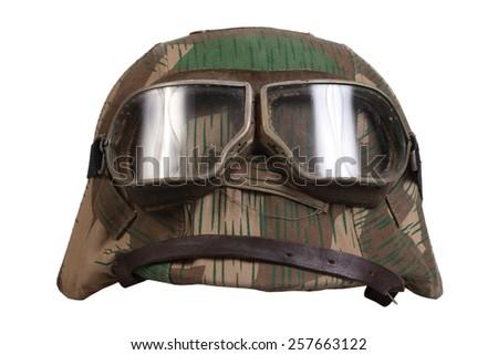 camouflage helmet Nazi Germany with goggles - stock photo