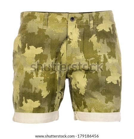 Camouflage shorts isolated on white background - stock photo
