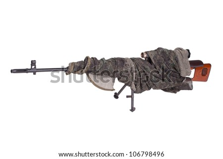 camouflaged SVD sniper rifle isolated on a white background - stock photo