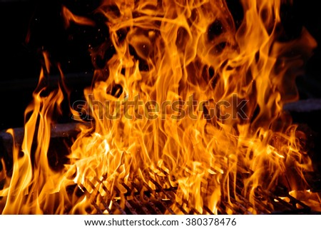 Camp fire from the burning logs. - stock photo
