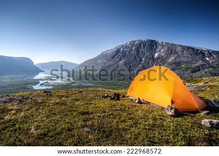 Camp in Lapland Sweden Rautasjaure - stock photo