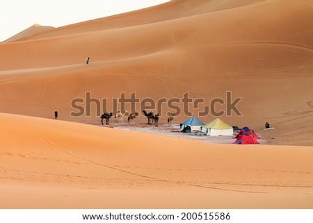 Camp in sahara desert, morocco - stock photo