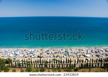 Camp on the sea coast. Top view - stock photo