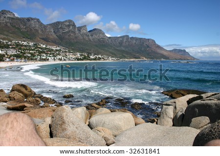 Camp's Bay near Cape Town, in the Western Cape Province of South Africa - stock photo