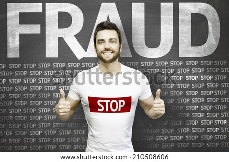 Campaign against Fraud by a man on blackboard background