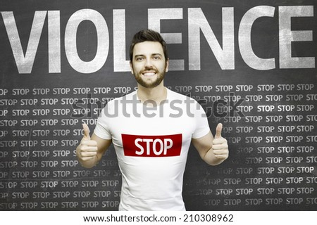 Campaign against Violence by a man on blackboard background