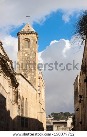 Campanile on Via dolorosa street, Jerusalem, Israel - stock photo