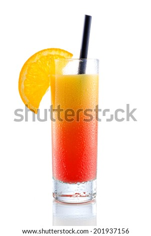 Campari orange cocktail, isolated on white - stock photo