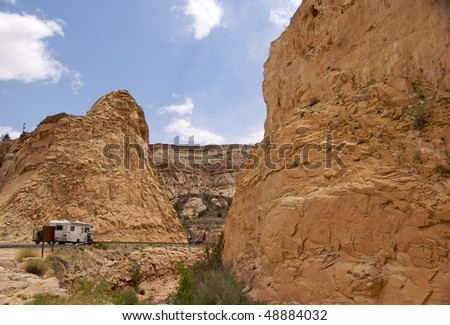Camper on scenic road through Capitol Reef National Park - stock photo