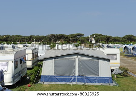 Campers and caravans at a camping in Spain - stock photo