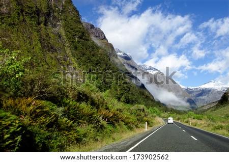 Campervan trip in Fiordland, New Zealand - stock photo