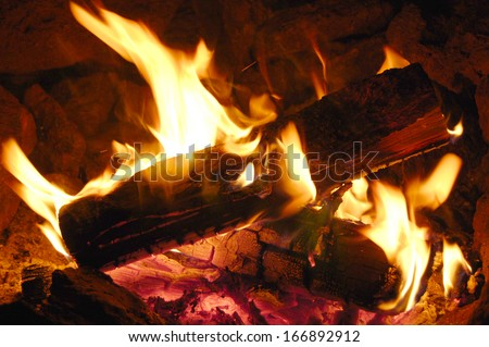 Campfire flames over burning logs - stock photo