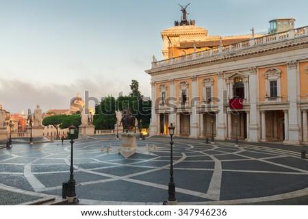 Campidoglio square, Capitoline hill in Rome, Italy - stock photo