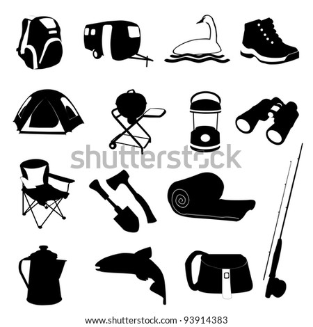 Camping and Fishing Icons Set - stock photo