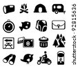Camping and Hiking Icon Set - stock photo