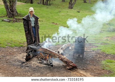 camping and hiking in the outback - stock photo