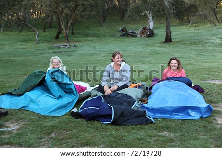 camping and hiking in the outback using a swag - stock photo
