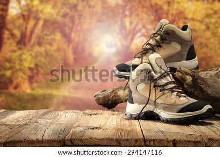 camping and shoes of brown color  - stock photo